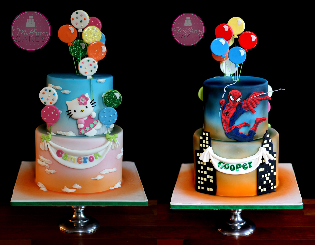 A Double Sided Cake For The Twins Mcgreevy Cakes