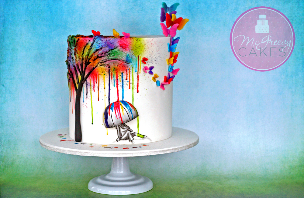 Color Tree Cake Touched by Color McGreevy Cakes