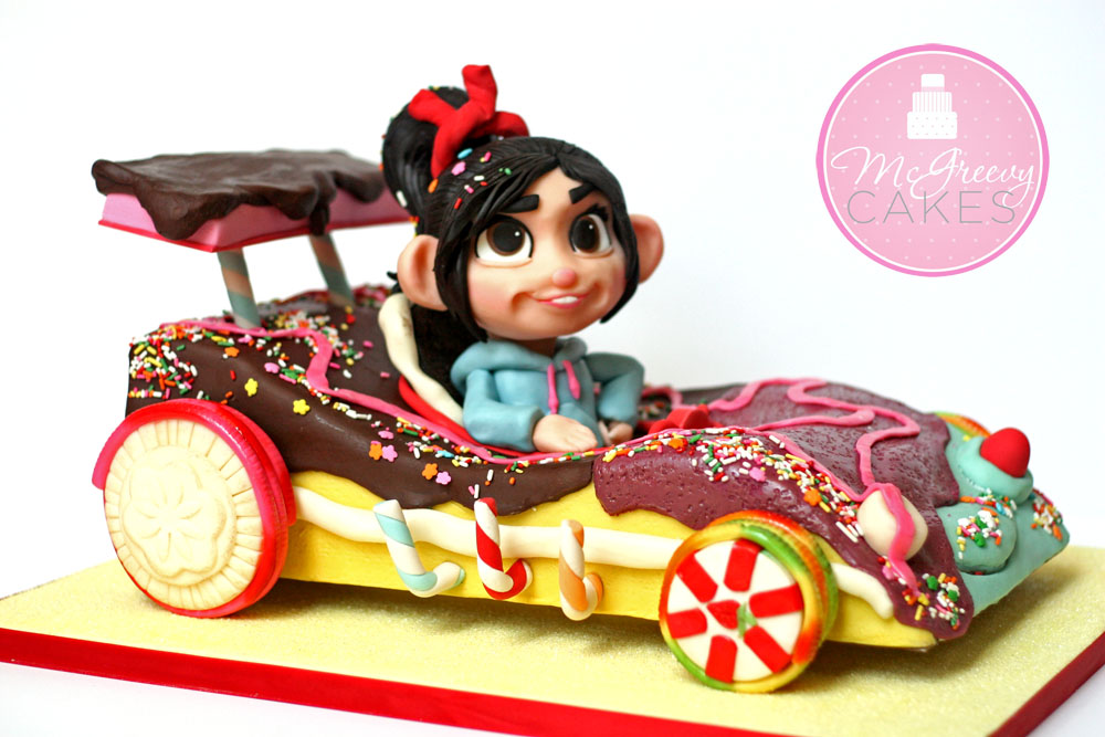 vanellope 39 s wreck it ralph car cake mcgreevy cakes. Black Bedroom Furniture Sets. Home Design Ideas