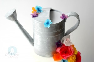 Quick and Easy Colorful, Wafer Paper Flowers and a Watering Can Cake